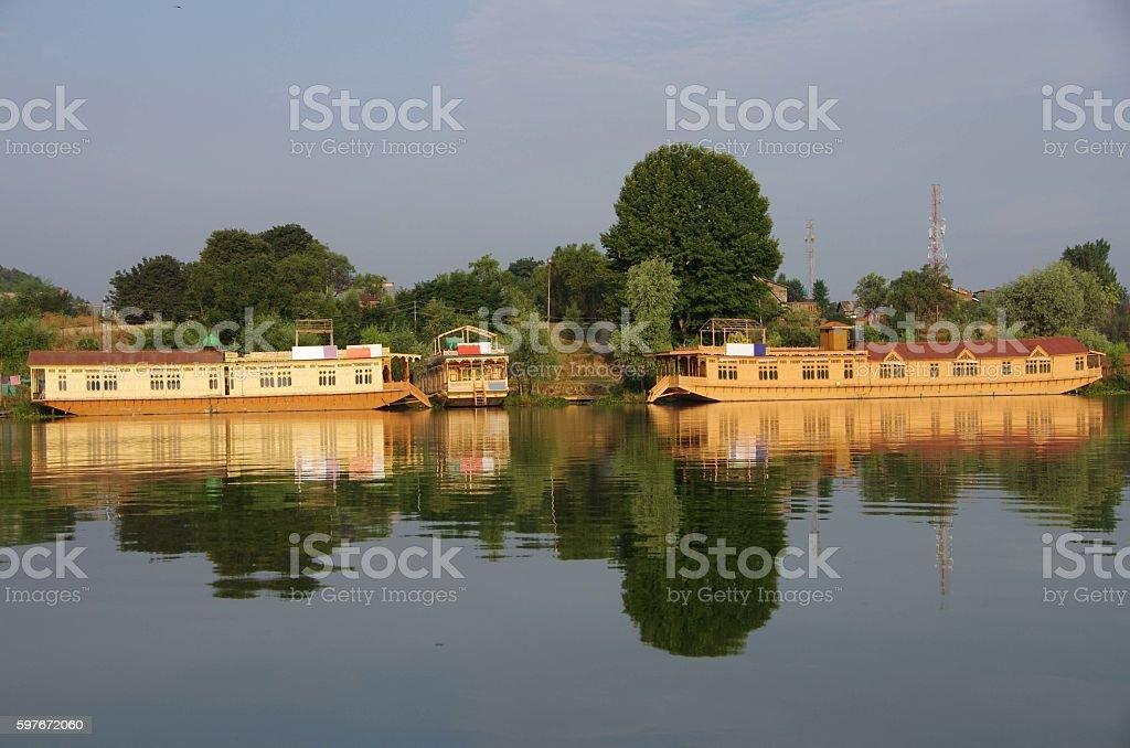 Houseboats in Srinagar in Kashmir, India stock photo