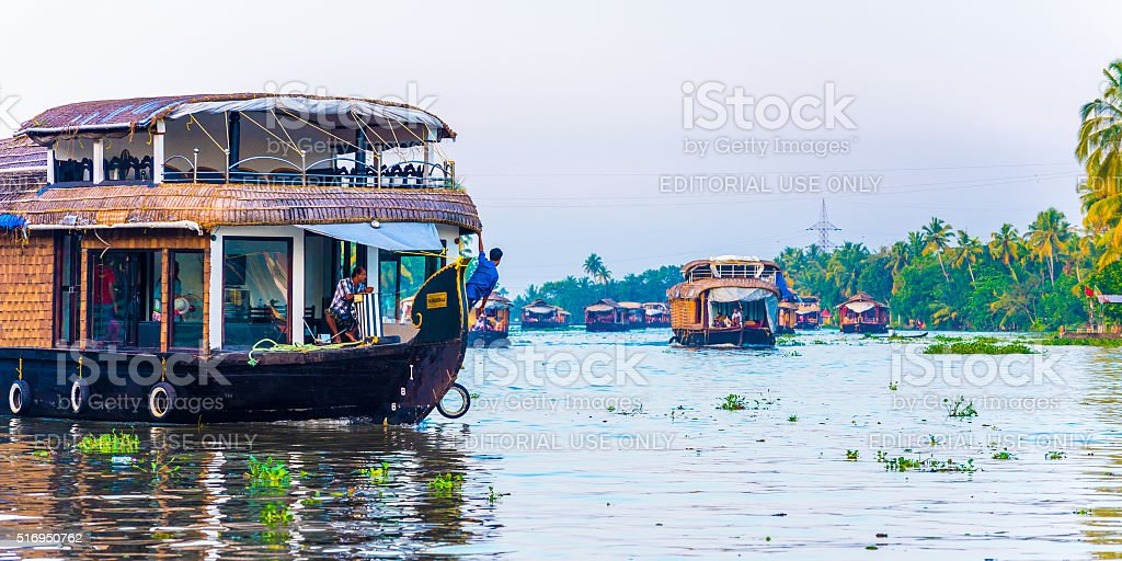 Houseboats in the Backwaters stock photo