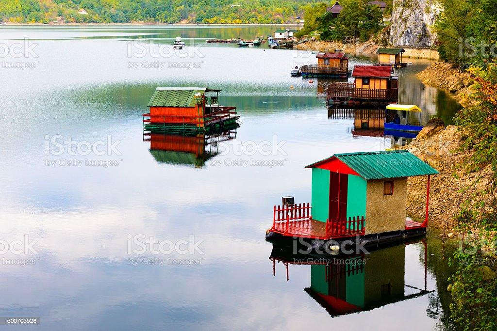 Houseboats of Perucac lake, Tara National Park (Serbia) stock photo