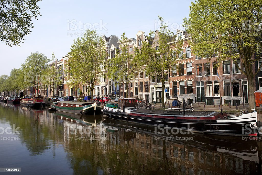 Houseboats on Amsterdam Canal royalty-free stock photo