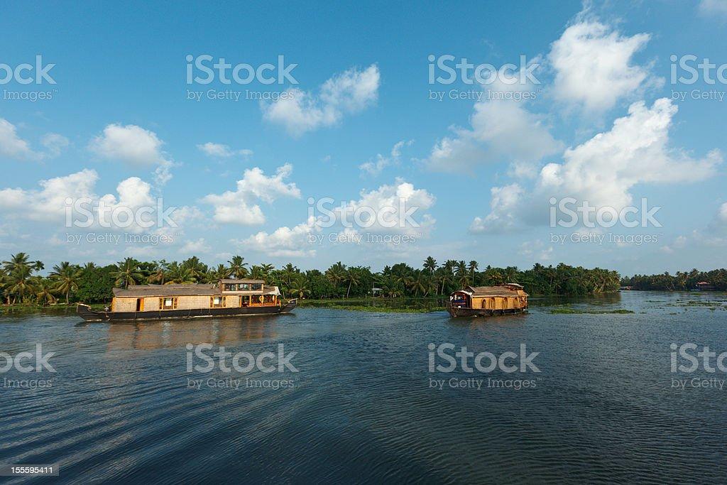 Houseboats on Kerala backwaters, India royalty-free stock photo