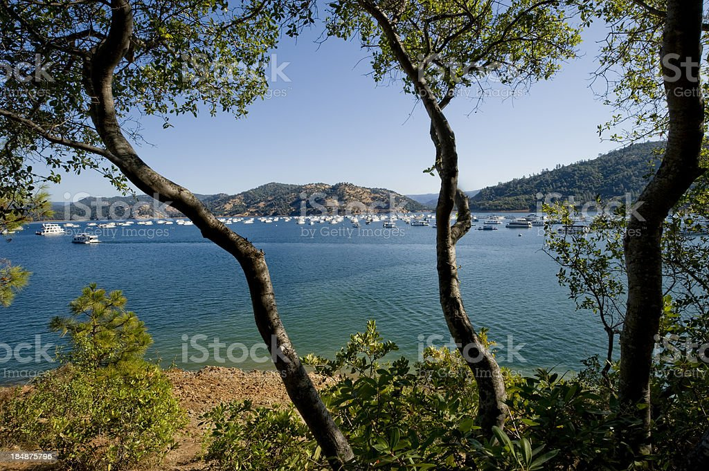 Houseboats on Lake Oroville, California royalty-free stock photo