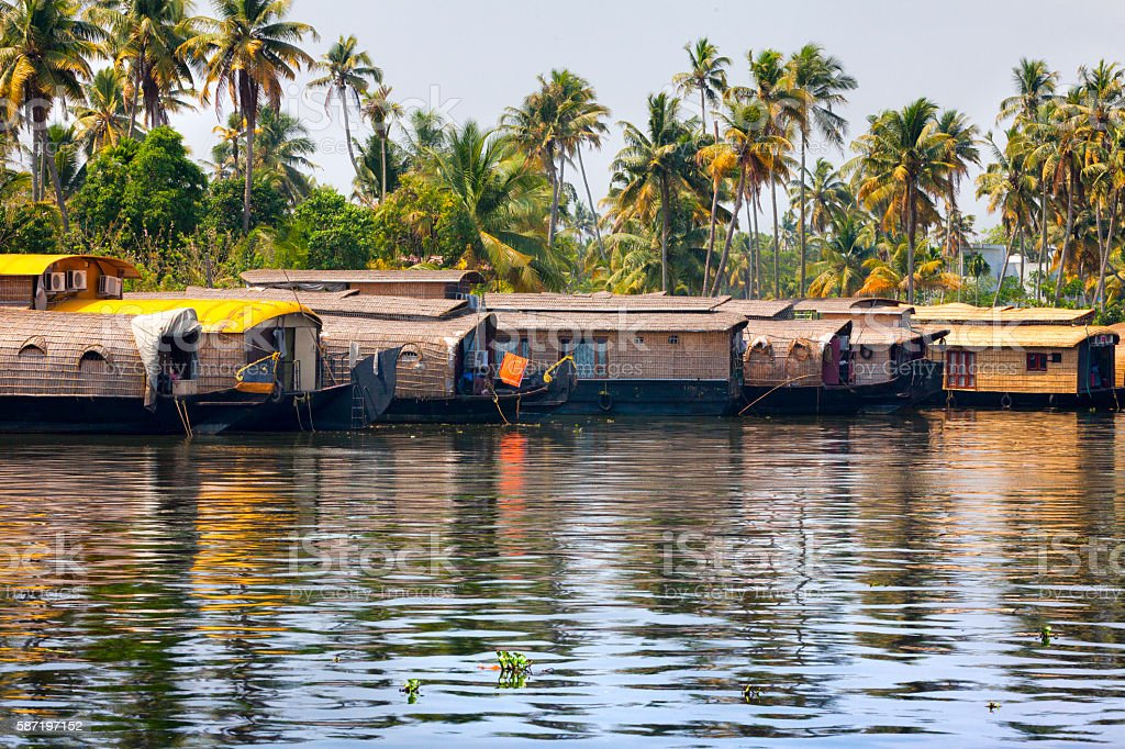 Houseboats on the Kerala Backwaters in India stock photo