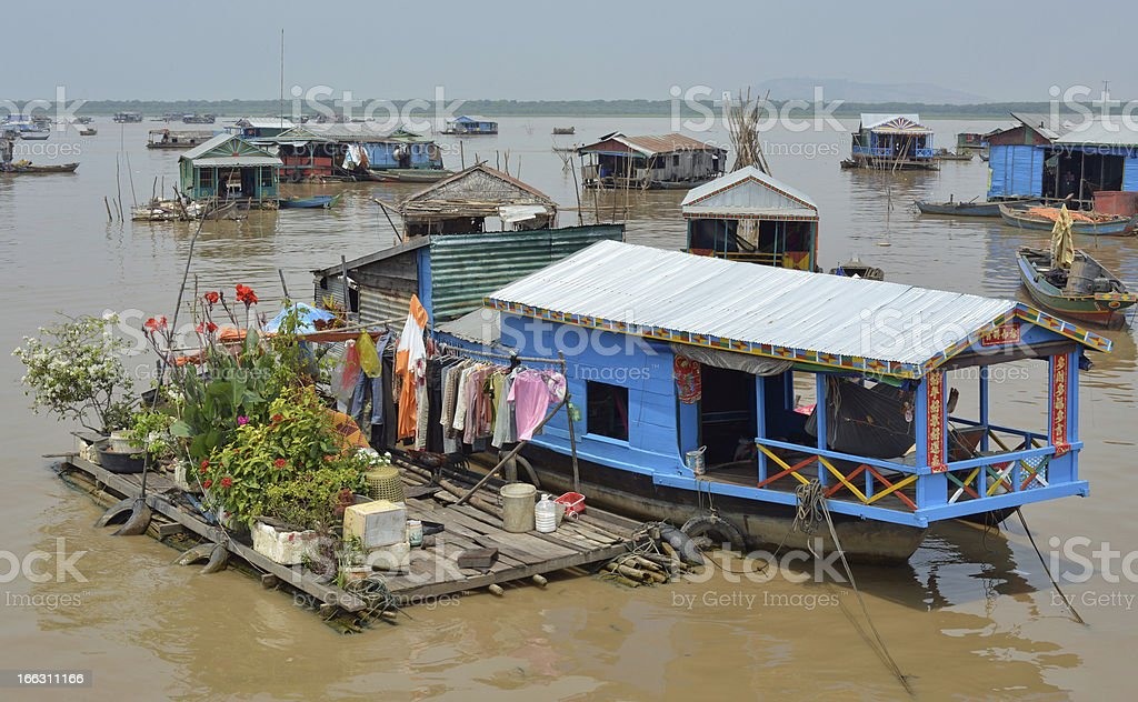Houseboats on Tonle Sap lake, Cambodia stock photo