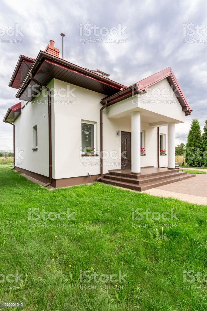 Housefront of family house stock photo