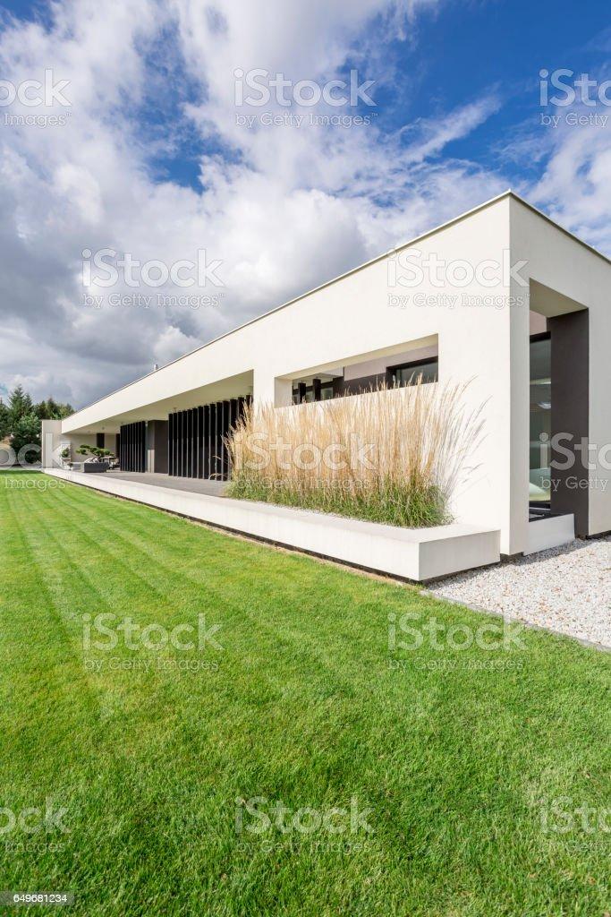 Housefront of modern villa stock photo