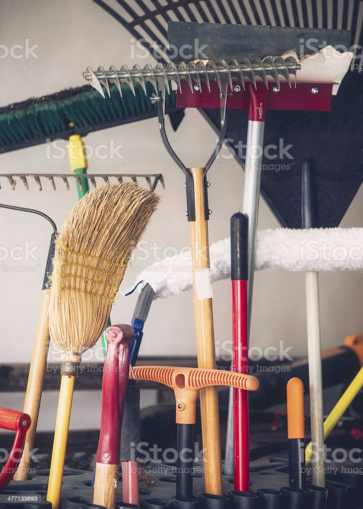 Household and Garden Equipment Used for Cleaning stock photo