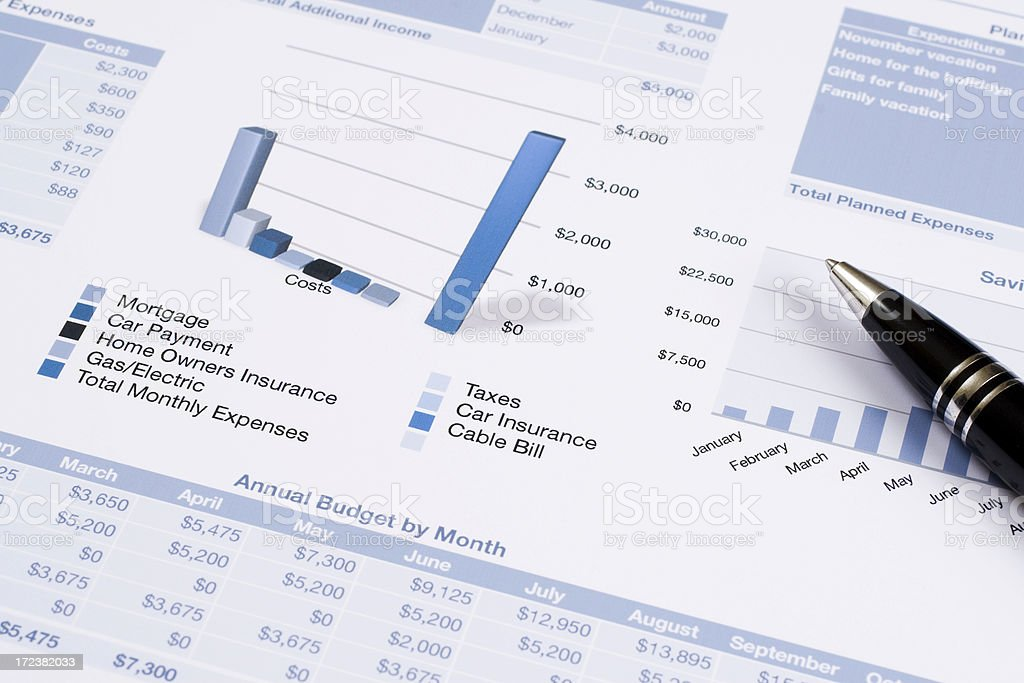 Household Budget with Pen stock photo