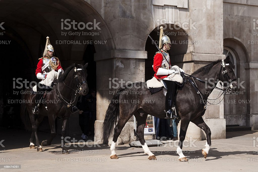 Household Cavalry at Horse Guards Parade royalty-free stock photo