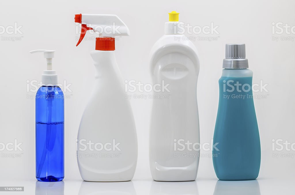 Household Cleaning Bottles 02-Blank stock photo