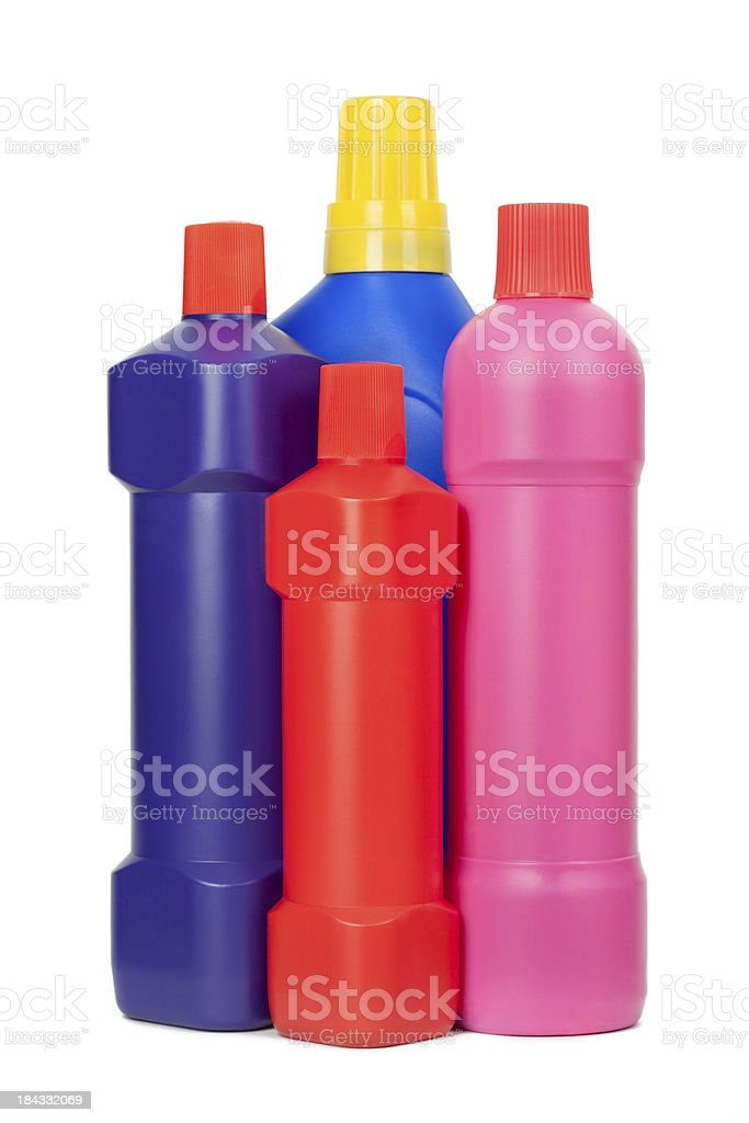 Household Cleaning Supply Bottles royalty-free stock photo