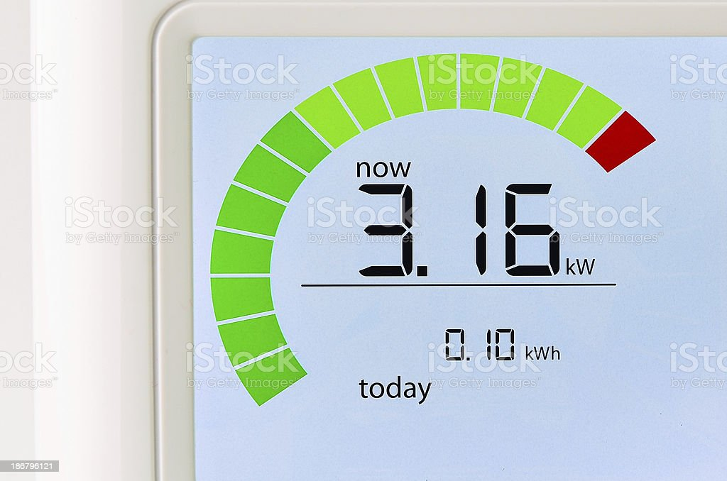 Household energy usage meter stock photo