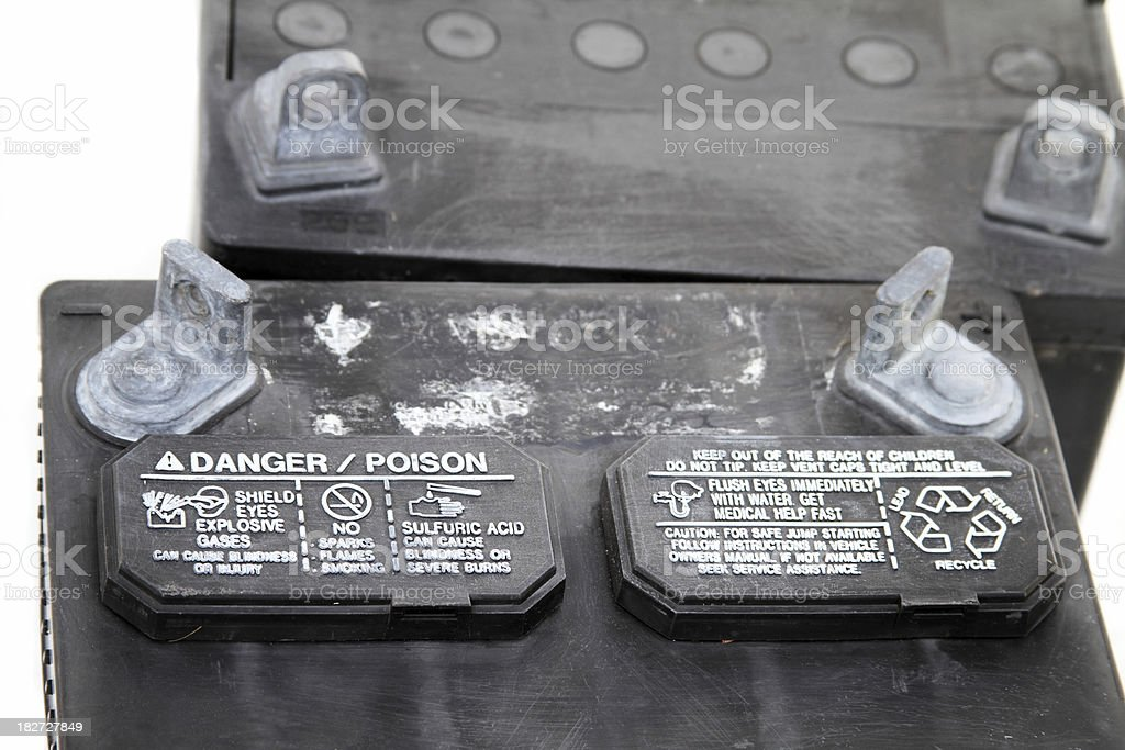 Household hazardous waste products - old batteries stock photo