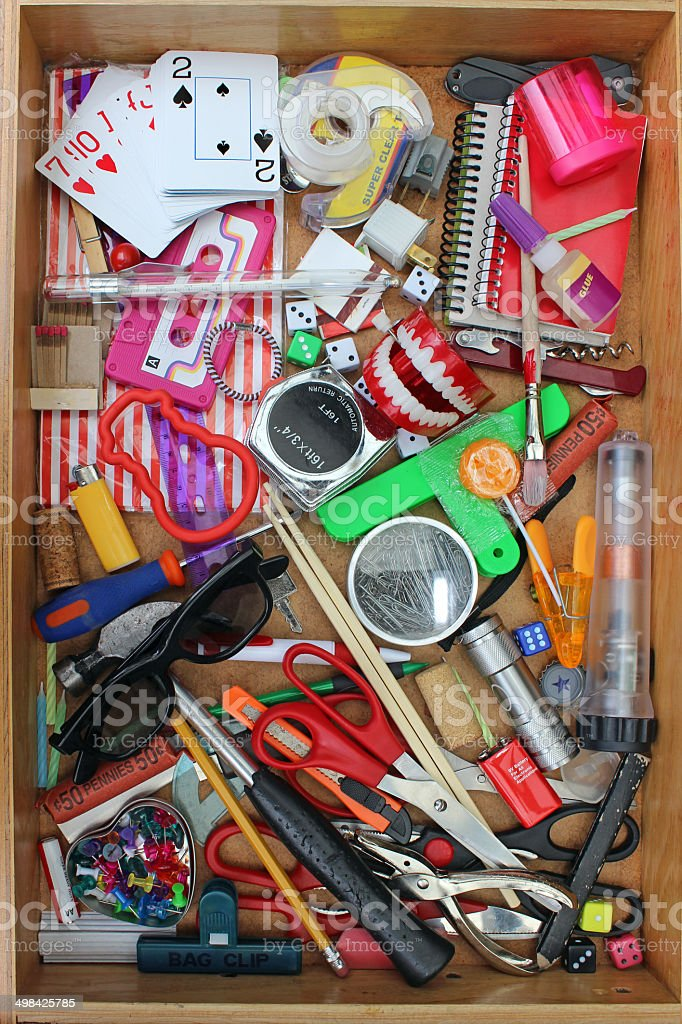 Household Junk Drawer stock photo