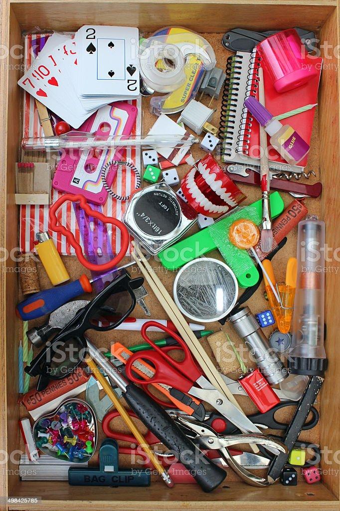 Household Junk Drawer stock photo