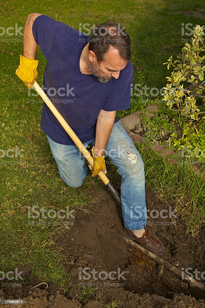 Household Plumbing Man Front Yard Water Pipe stock photo