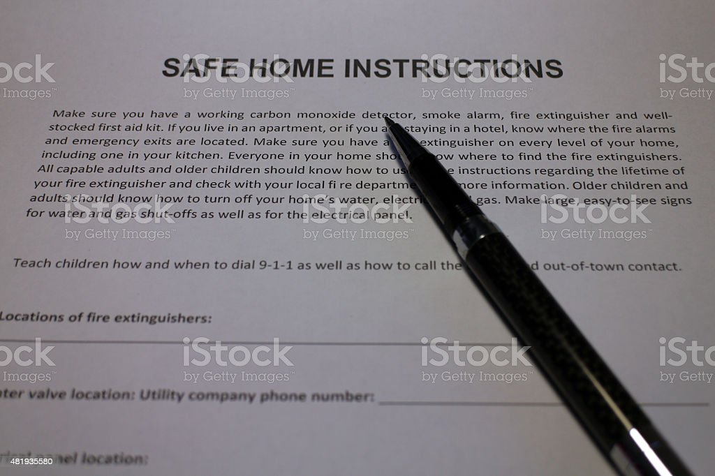 Household Safety Instructions stock photo