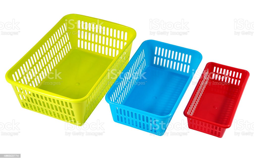 Household storage systems for economic use, multi-colored plastic boxes. stock photo
