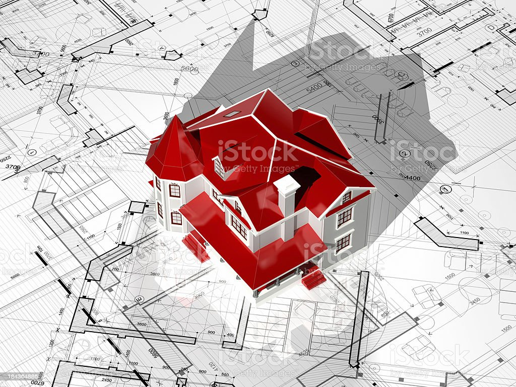Houseing Project-Construction Blueprint royalty-free stock photo