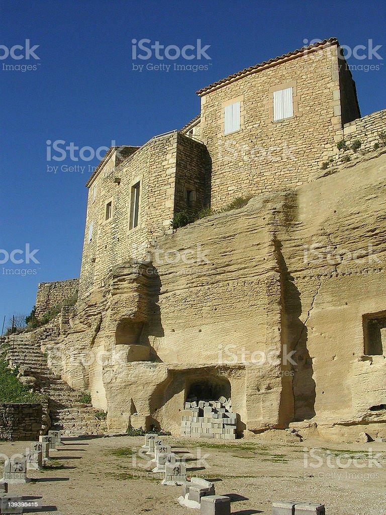 Houses above amphitheater, Gordes stock photo
