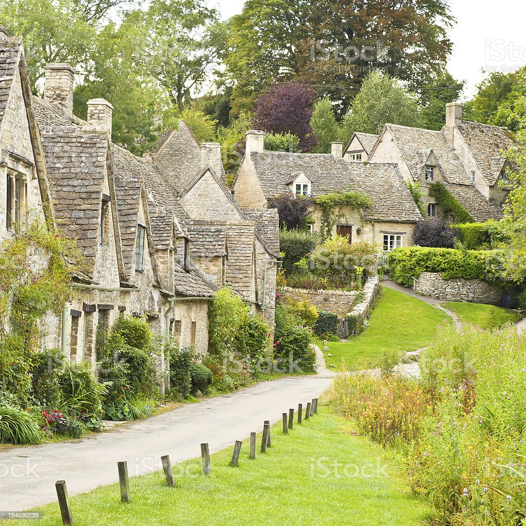 Houses along a small road in Bibury stock photo
