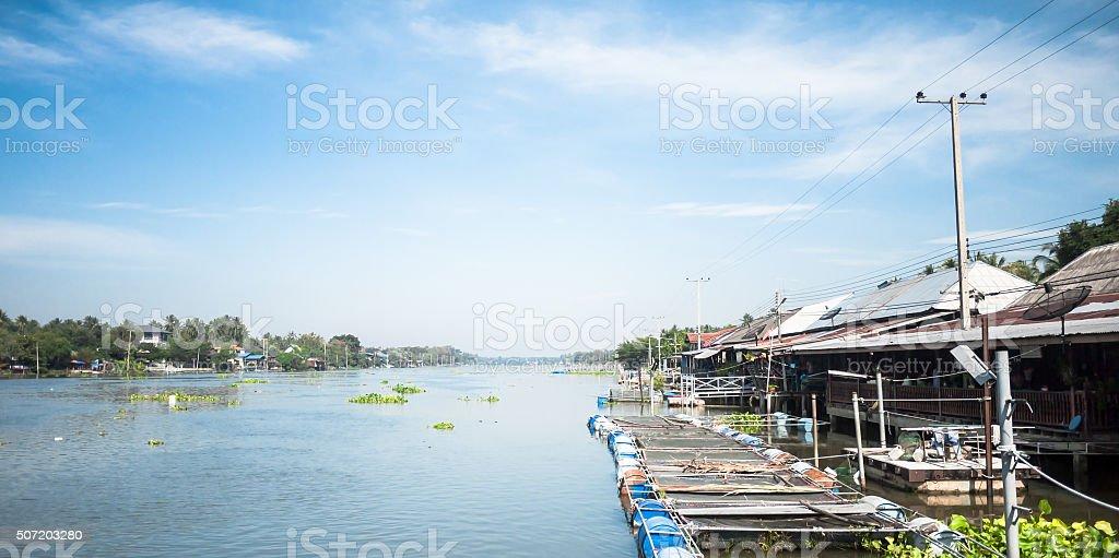Houses along Maeklong river in Samut Songkhram, Thailand. stock photo