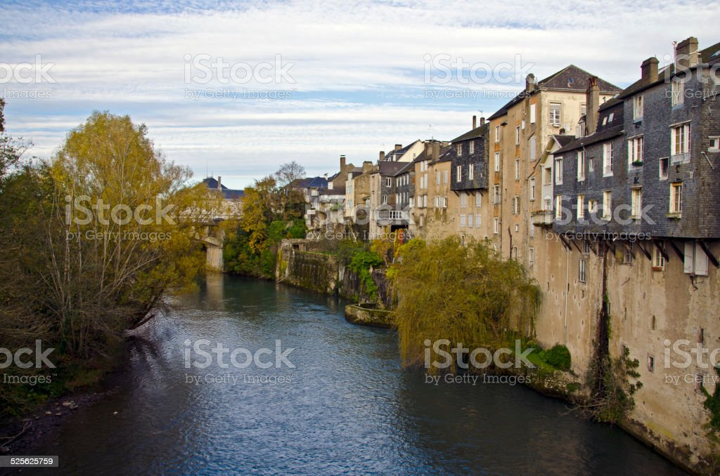 Houses along the Gave d'Aspe stock photo