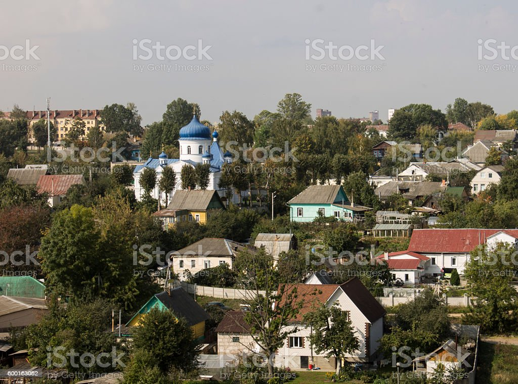 Houses and a church. Belorussia stock photo