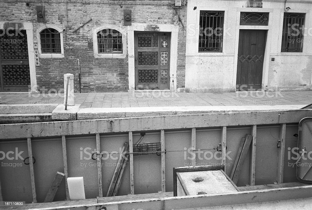 Houses and boats in the canals of Venice, Italy stock photo