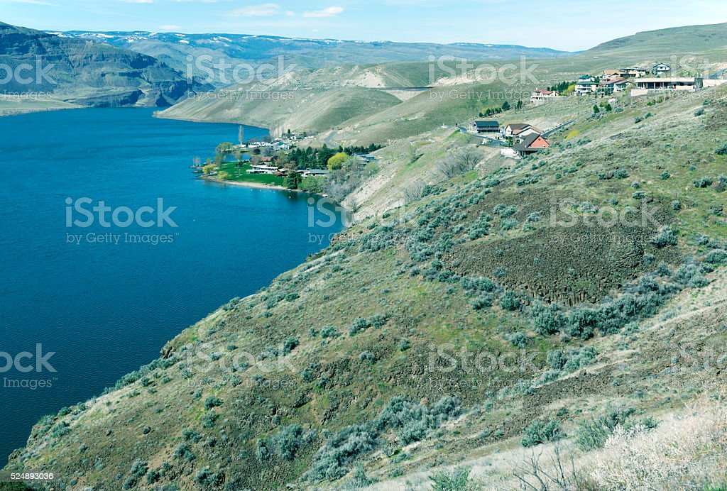 Houses and campground on Columbia River in Washington state stock photo