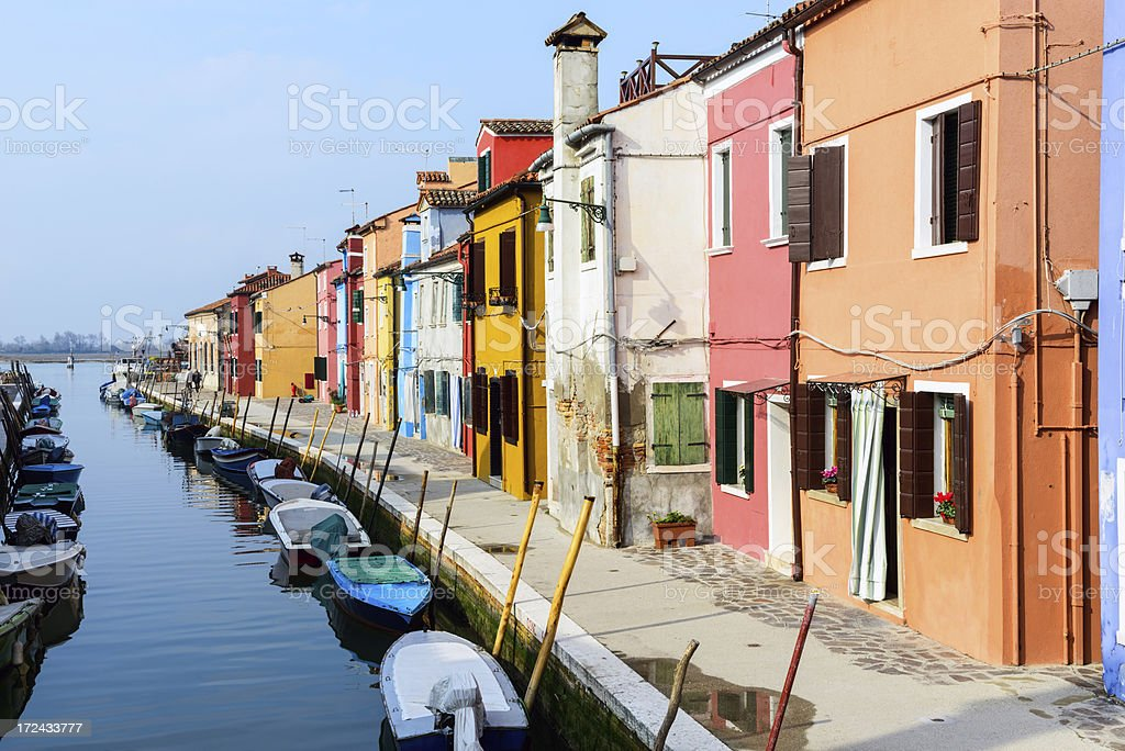 Houses and Canal on Burano, Venice royalty-free stock photo