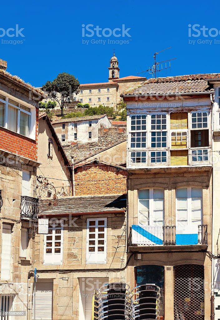 houses and castle Lemos in Monforte de Lemos, Galicia, Spain stock photo