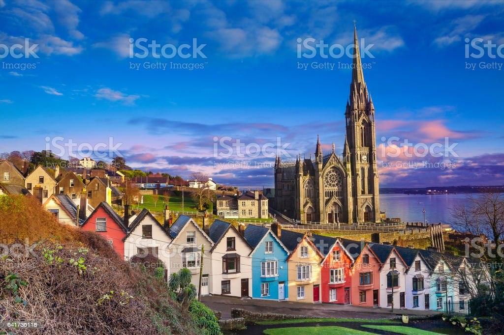 Houses and catherdral in Cobh, Ireland stock photo
