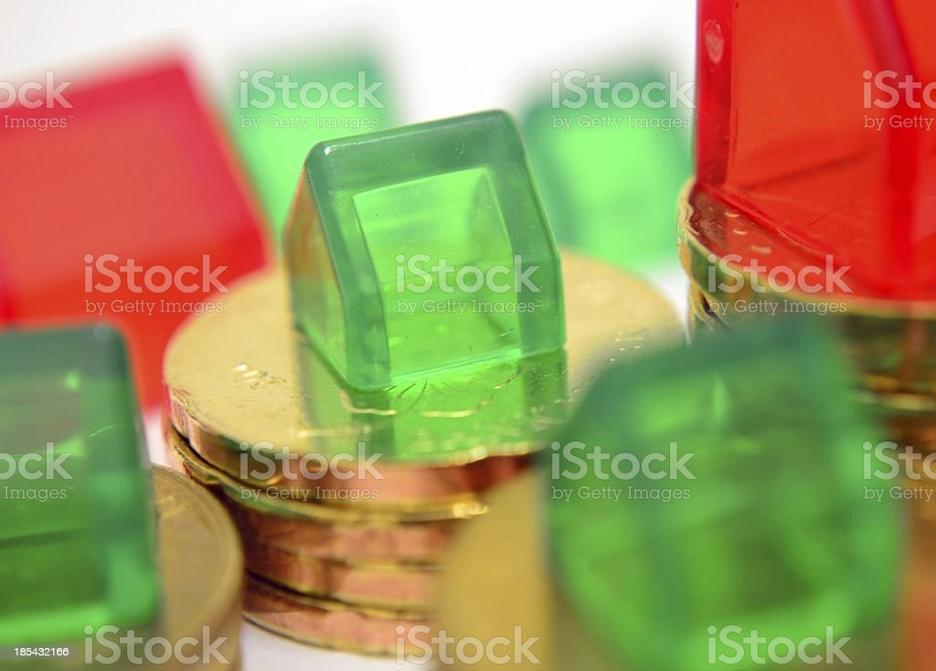 Houses and Coins Closeup royalty-free stock photo