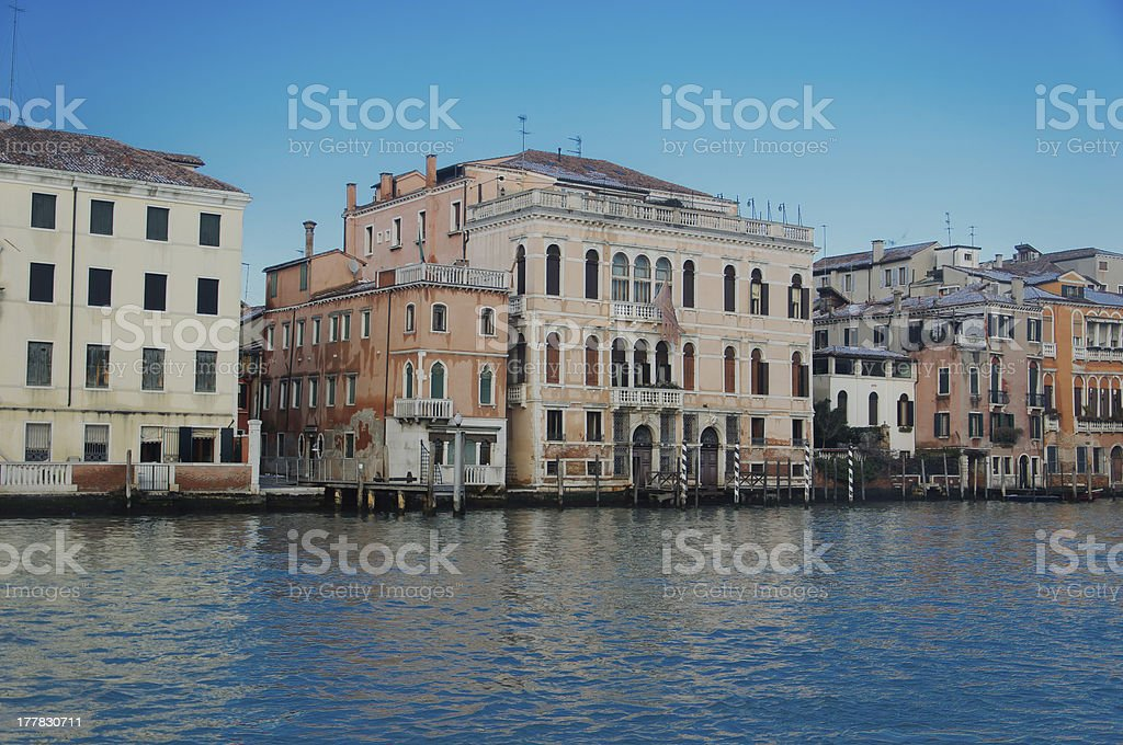 Houses and Commercial buildings on the Grand Canal in Venice royalty-free stock photo