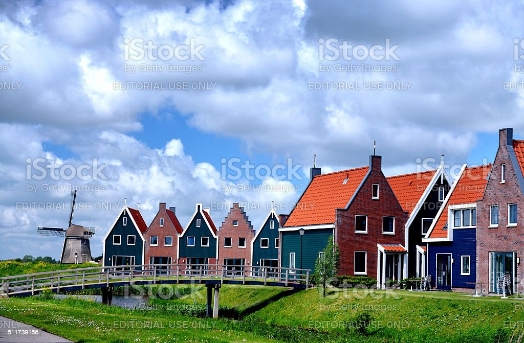 Houses and footBridge stock photo