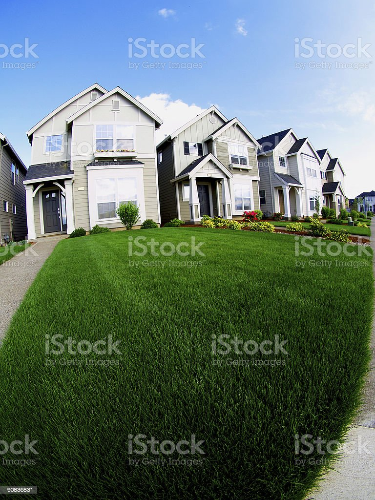 Houses and Lawn stock photo