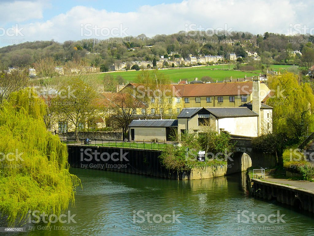 Houses and New Spring Willow Trees River Avon Bath England stock photo