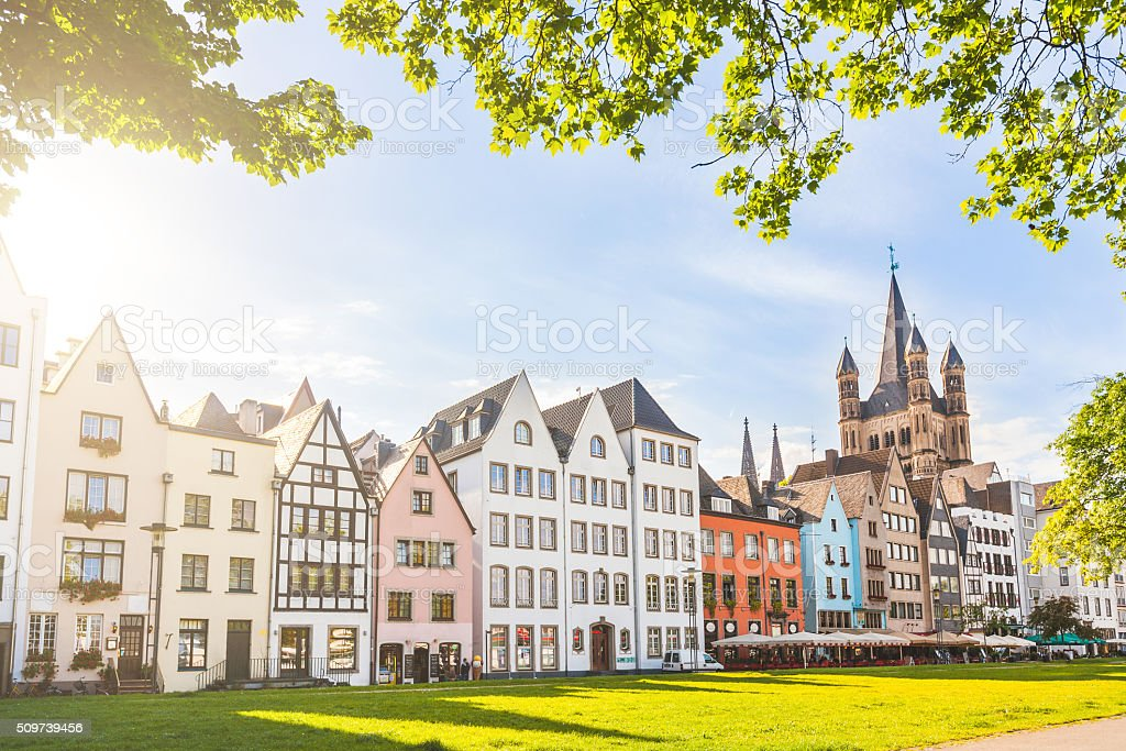 Houses and park in Cologne, Germany stock photo