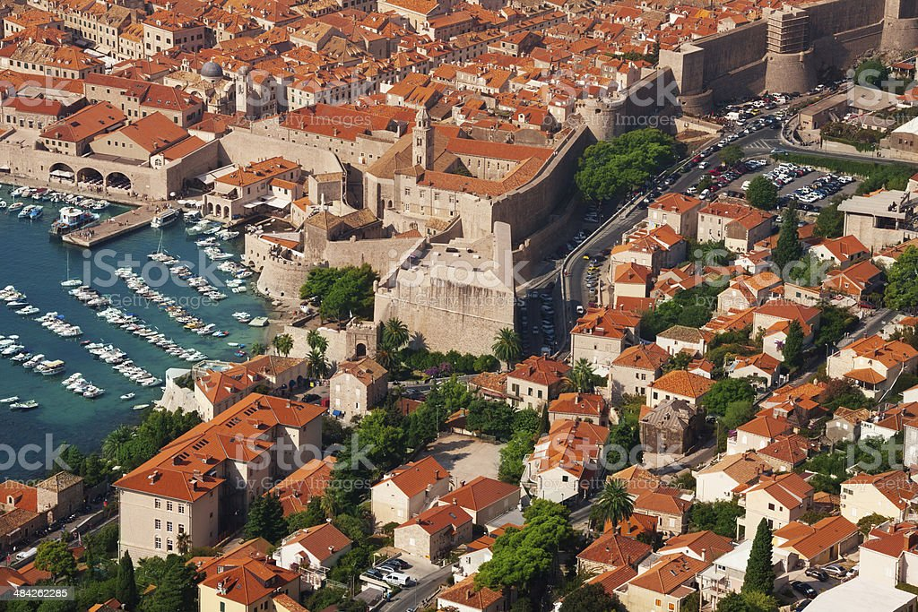 Houses and port of Dubrovnik stock photo