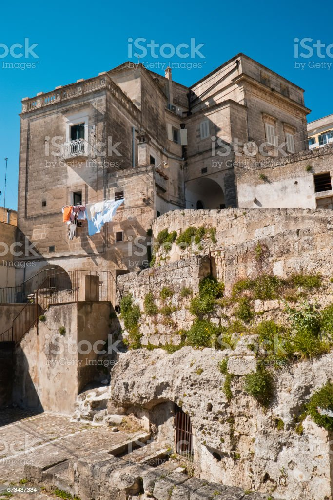 Houses and rock limestone. stock photo