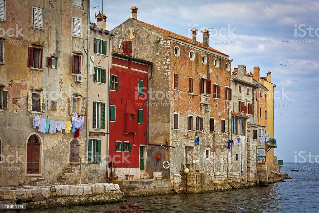 Houses and sea stock photo