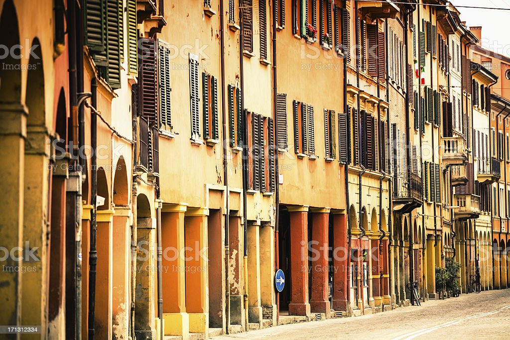 Houses and Streets of Bologna, Italy stock photo