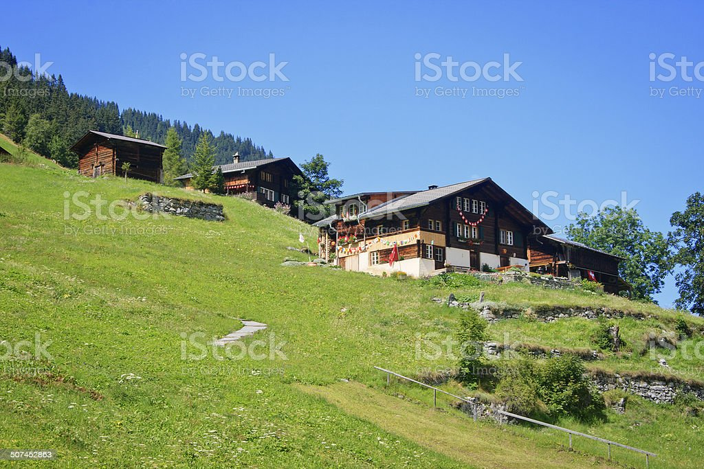 Houses at Gimmelwald, Switzerland stock photo