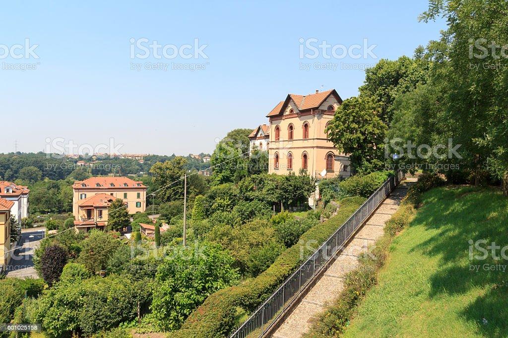 Houses at historic industrial town Crespi d'Adda near Bergamo, Italy stock photo
