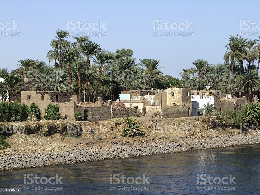 houses at Nile coast stock photo