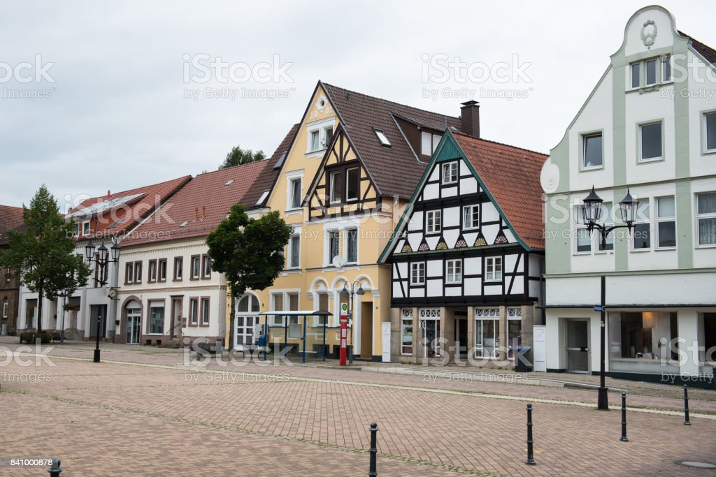 Houses at Rathausplatz in Horn in Lippe, East Westphalia stock photo