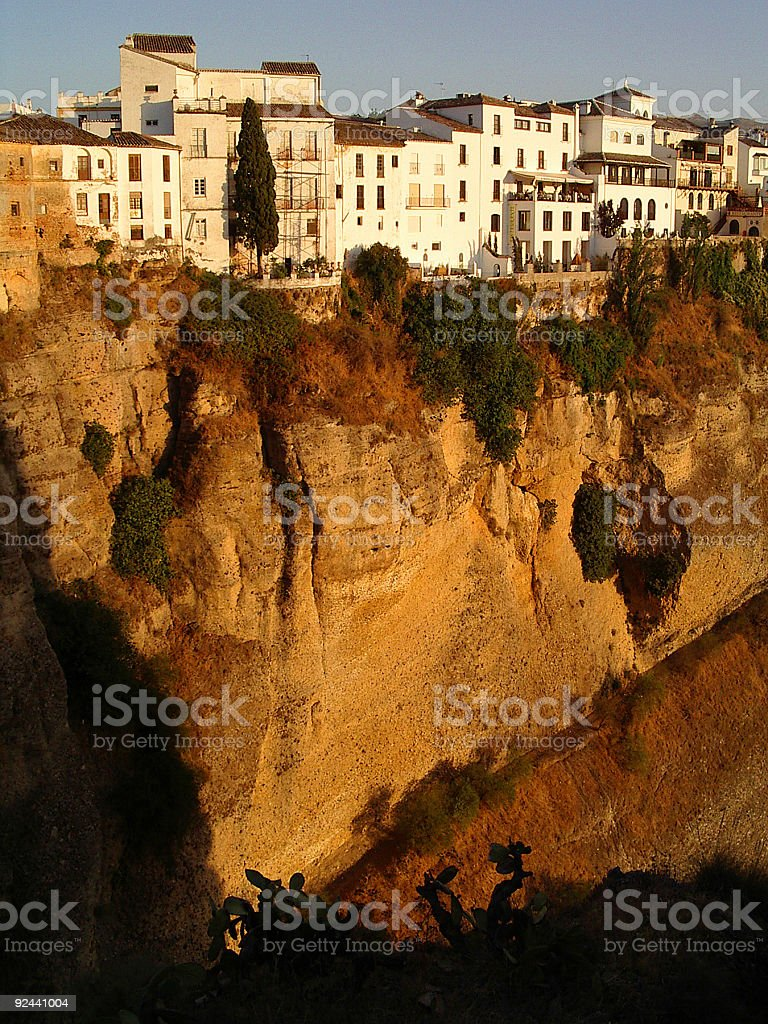 Houses at sunset in Ronda, Spain royalty-free stock photo