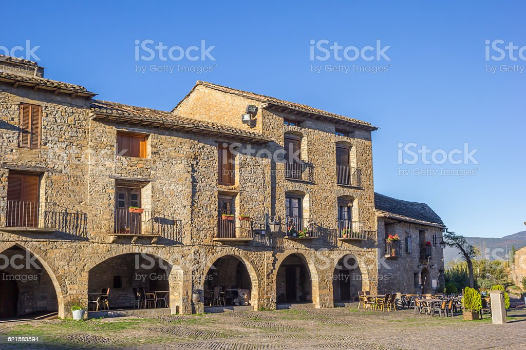 Houses at the central square in Ainsa stock photo