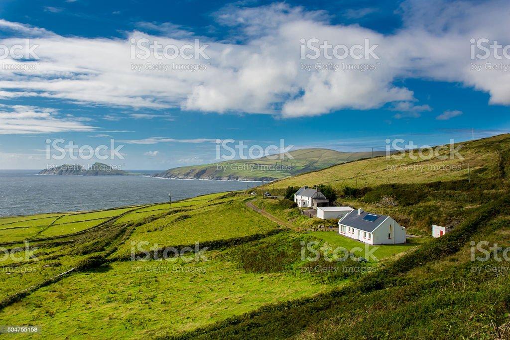 Houses at the Coast of Ireland stock photo